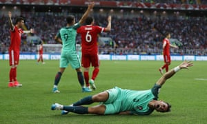 Pepe of Portugal goes down in pain.