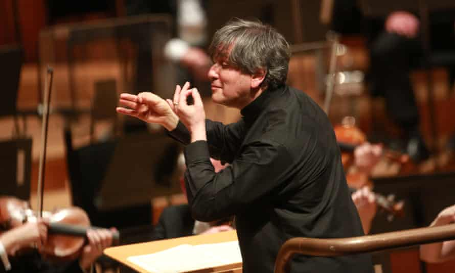 Sir Antonio Pappano conducts the London Symphony Orchestra with soloist violinist Nikolaj Znaider at the Barbican, London.