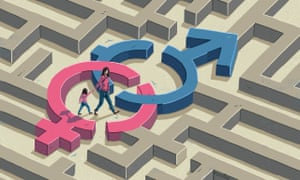 Illustration of couple navigating maze in order to talk about sex