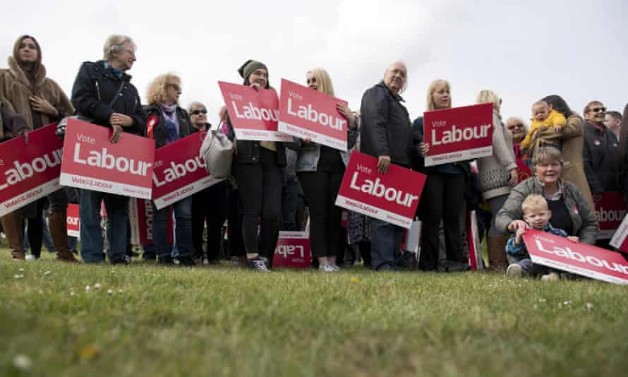 Labour supporters at Harlow Town Park, Essex.