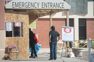 Visitors check in at the emergency entrance before entering Rehoboth McKinley Christian hospital.