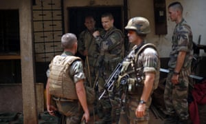 French soldiers search a house in Bangui, Central African Republic.