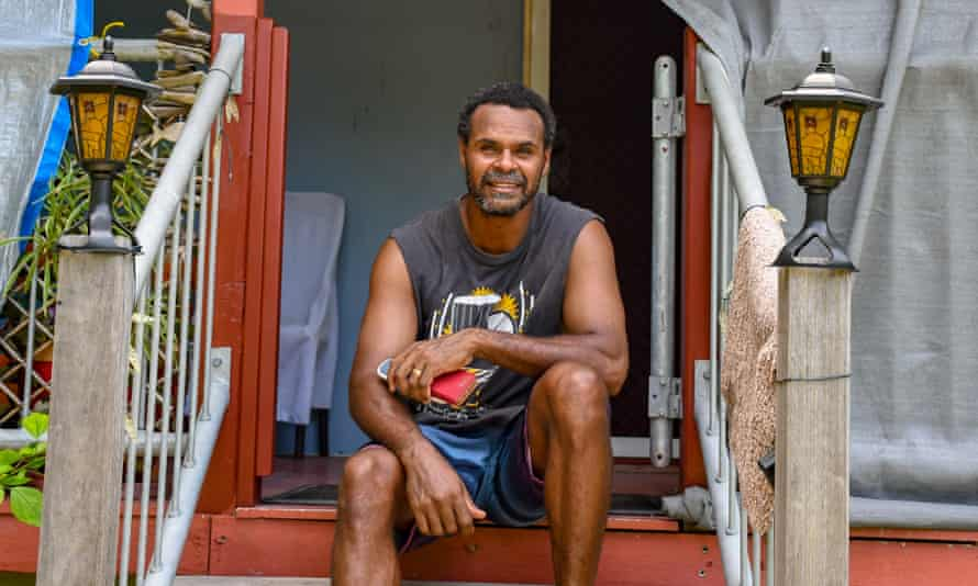 Fisherman and crayfish farmer, James Billy outside his home on Warraber in the Torres Strait.