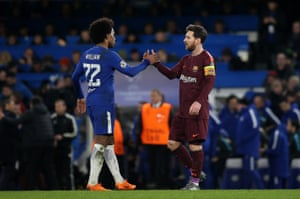 Willian and Messi at the final whistle.