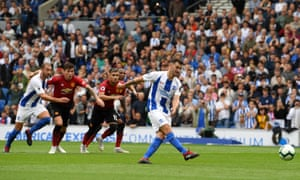 Pascal Gross scores from the penalty sport to make it 3-1 Brighton.