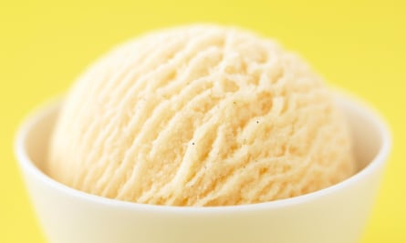 A scoop of vanilla ice-cream.