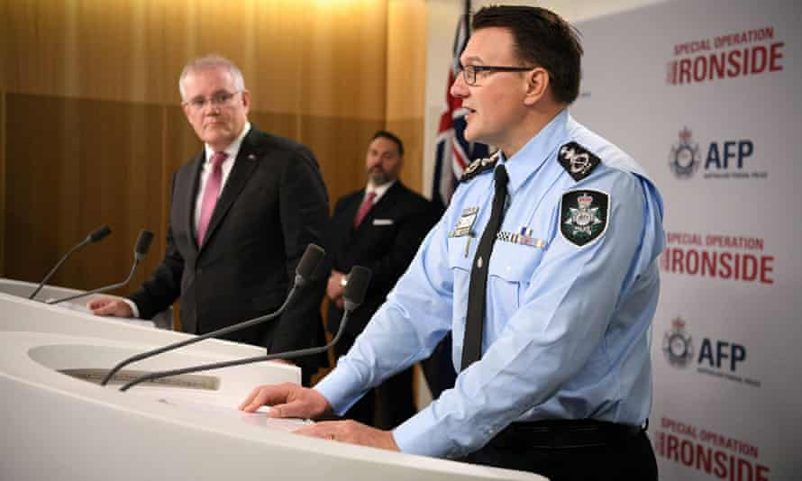 The Australian Federal Police commissioner, Reece Kershaw, announces the arrests with the prime minister, Scott Morrison. The AFP partnered with the FBI to monitor the ANoM app on devices.