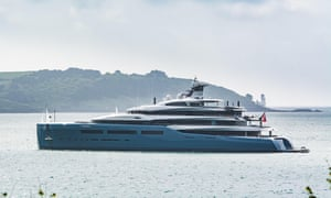 The superyacht Aviva off the Cornish coast.