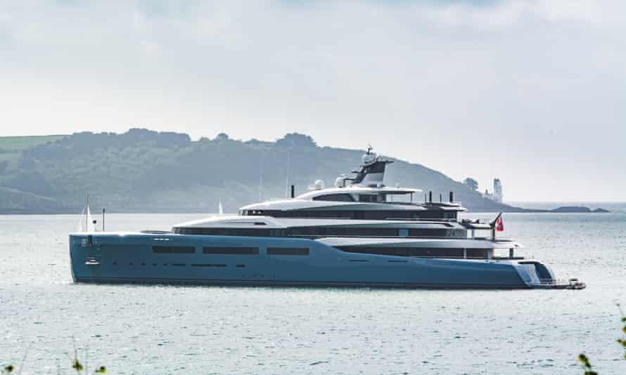 The superyacht Aviva off the Cornish coast.