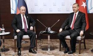 Vladimir Putin and Recep Tayyip Erdoğan at the G20 summit.