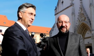 Andrej Plenković (L) welcomes European council president Charles Michel (R) in Zagreb on Thursday.