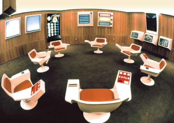 An archive picture of Chile's Cybersyn Operations-Room.
