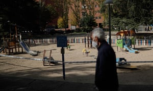 A children's park remains closed due to coronavirus pandemic in Madrid