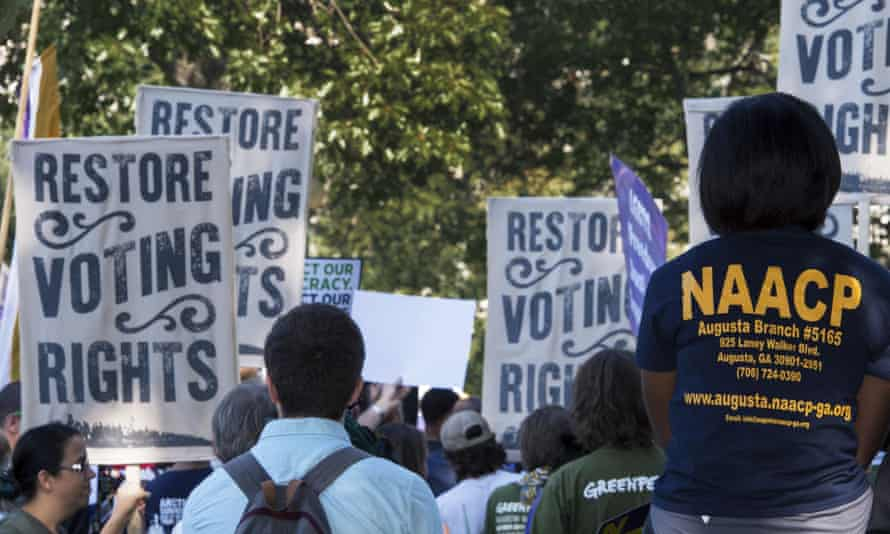 Activists protest on Capitol Hill in September, calling for the restoration of Voting Rights Act protections.