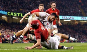 Cory Hill scores for Wales during their thrilling Six Nations victory over England in Cardiff, a game watched by 6.6m viewers on the BBC.