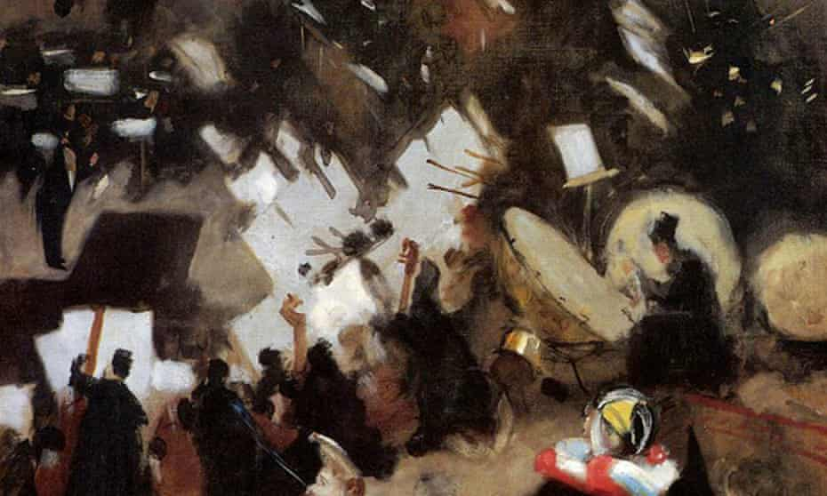 detail from Rehearsal of the Pas de Loup Orchestra at the Cirque d'Hiver John Singer Sargent, 1878.