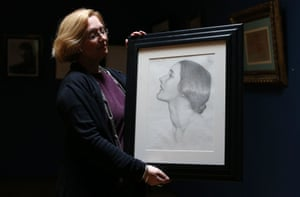 A drawing of Patricia Strauss, who stood for the Labour Party in Kensington South at the 1945 general election, during a photo call for London Art Week at the Colnaghi gallery