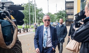 Former England footballer Paul Gascoigne arrives at Teesside Crown Court in Middlesbrough on Tuesday.