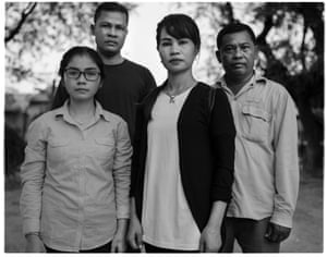 """Cambodian opposition political activists (image left to right) Sin Chanpouraseth, Chay Vannak, Ney Leak and Douch Sovunth. Sin Chanpouraseth: """"Children in rural Cambodia go to school for two hours, and often there are no teachers. I went to a university that closed because it was bankrupt, then I went into politics. Meanwhile in Phnom Penh the government builds skyscrapers. The well-being of the people doesn't require skyscrapers, it requires jobs."""