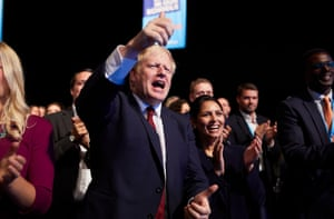 Manchester, England Boris Johnson applauds Sajid Javid's speech at the Conservative party annual conference