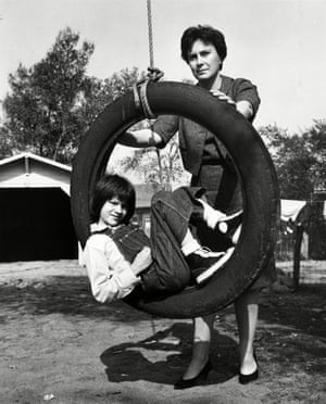 "On the set of ""To Kill A Mockingbird"" with Mary Badham, who played Scout, in 1962."