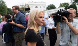 Kellyanne Conway speaks to the media on the driveway of the White House in Washington DC Monday.