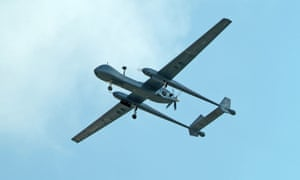 A Heron drone, one of the types operated by Frontex