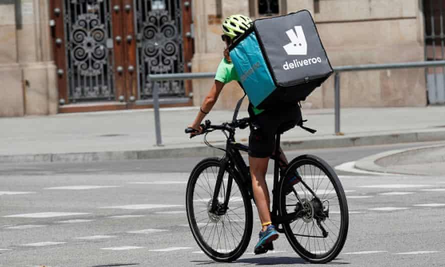 A Deliveroo rider in Barcelona, Spain