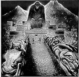 An illustration by Virgil Finlay for the American Weekly representing the Temple in Morde's 'Lost City of the Monkey God'.