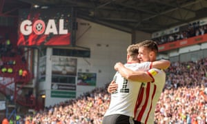 Enda Stevens celebrates his goal as Sheffield United beat Nottingham Forest in an early kick-off.