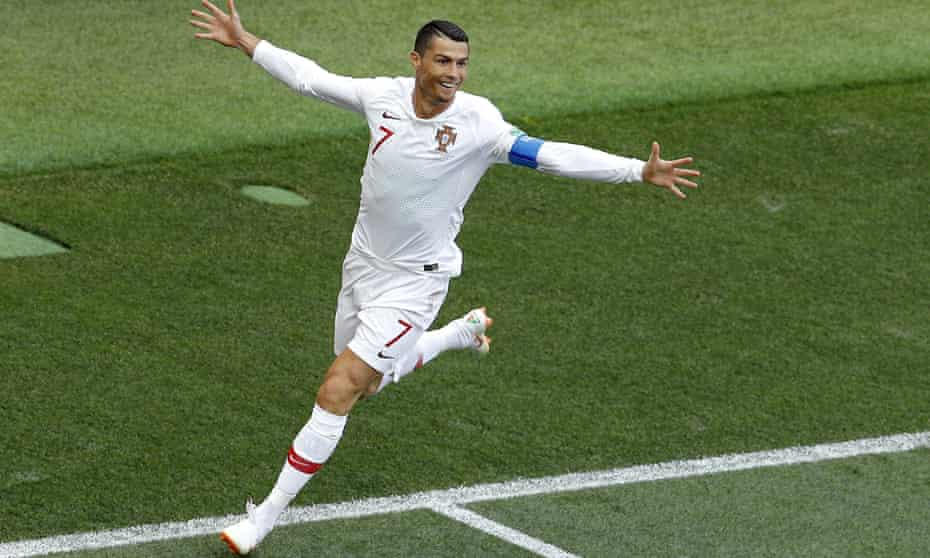 Portugal's Cristiano Ronaldo celebrates his goal against Morocco