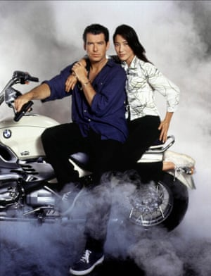 Pierce Brosnan and Michelle Yeoh in Tomorrow Never Dies, 1997.