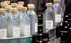Bottles of gin at the Isle of Harris distillery in Tarbert. YouGov found gin is the most popular spirit in Britain.