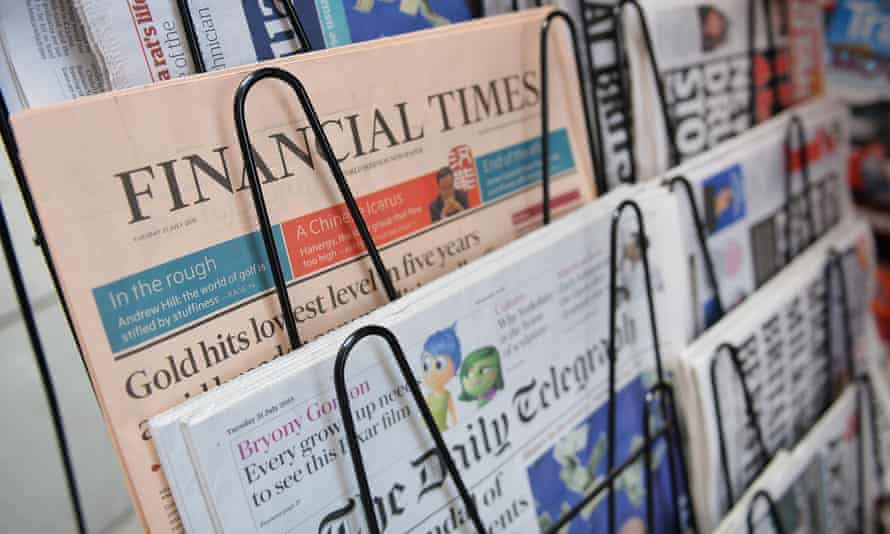 Newspapers on sale at a newsagents.