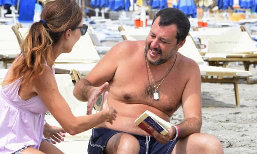 Matteo Salvini on the beach in Milano Marittima.