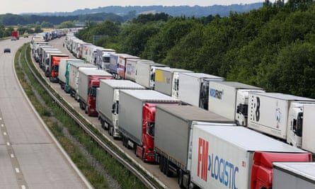 Gridlocked lorries parked on the M20