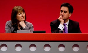 Harman with Miliband at the Labour conference in 2010.