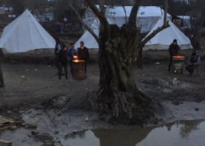 refugees camp Greece fire