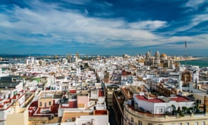 Panoramic view of the city and of the cathedral of Cadiz, Andalucía, Spain.