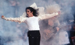 Singer Michael Jackson performs at the Super Bowl in California in 1993.