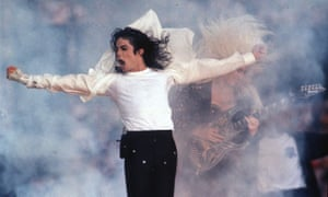 Michael Jackson performs during the halftime show at the Super Bowl in Pasadena, California in 1993.