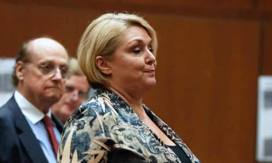 Samantha Geimer walking to the podium to address the court in Los Angeles, California, in June.