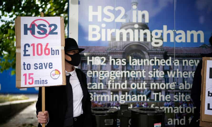 A protester against HS2 at the company's rail construction site in Birmingham.