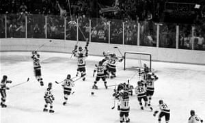 The 1980 US Olympic hockey team celebrate their upset over the Soviet Union – but does it match Leicester's achievement?