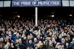 Everton fans build the atmosphere inside Goodison.
