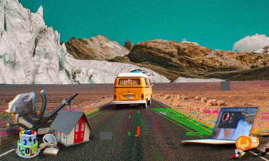 Illustration of van driving away, towards mountains, leaving behind piles of stuff