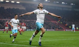 Andy Carroll celebrates scoring West Ham's second goal in their 3-1 win at Middlesbrough