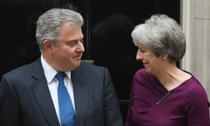 Theresa May poses with newly appointed deputy Tory chairman Brandon Lewis