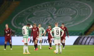 Celtic's Leigh Griffiths and Albian Ajeti look dejected after Sparta Prague score their fourth goal.