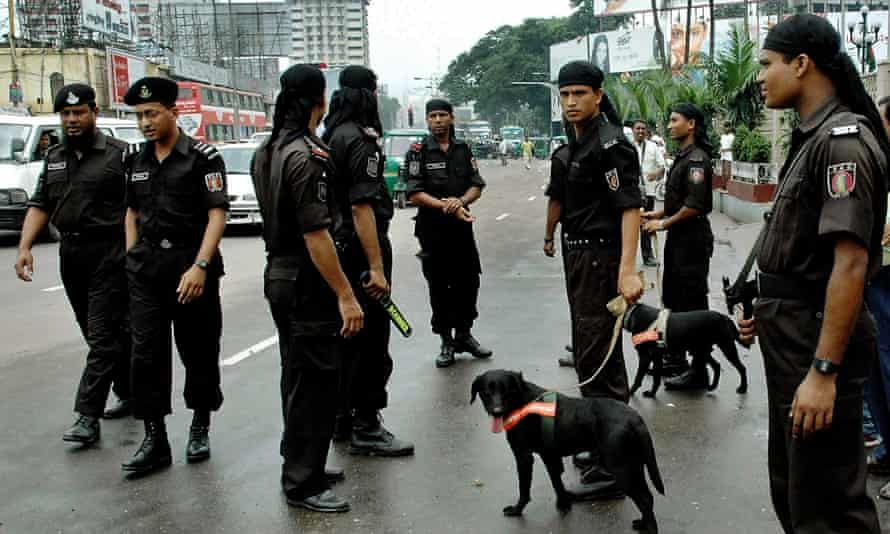 Rapid Action Battalion police in Dhaka.
